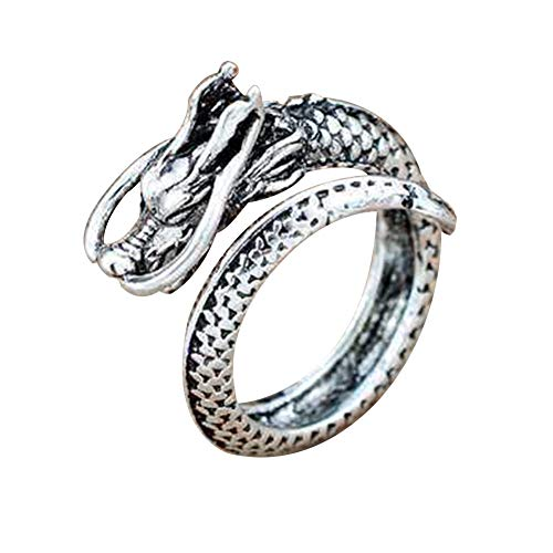 Vintage Dragon Open Ring for Men Punk Domineering Index Finger Dragon Rings Boys Student Fashion Jewelry(silver)