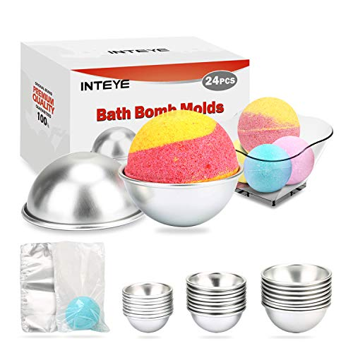 Bath Bomb Mold, 24 PCS Bath Bomb Mold Kit Including 3 Size 24 PCS Molds for Bath Bombs & 100 PCS 6 X 4.3 Inch Shrink Wrap Bags for DIY Bath Bomb Maker.