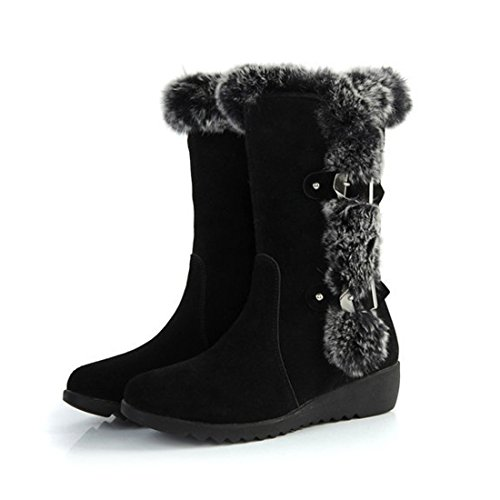 Mostrin Autumn Winter Women Mid Calf Slip-resistant Waterproof Snow Boots Warm Rabbit Fur Wedge Boots - Suede Waterproof Fashion Boots
