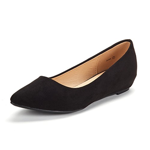 DREAM PAIRS Women's Jilian Black Suede Low Wedge Flats Shoes - 8 M (Womens Black Suede Flats)