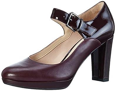 Clarks Kendra Gaby - Aubergine Combi Leather (Burgundy) Womens Heels 7