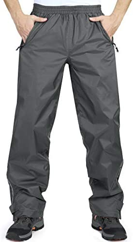 33,000ft Men's Rain Pants, Lightweight Waterproof Rain Over Pants, Windproof Outdoor Pants for Hiking, Fishing