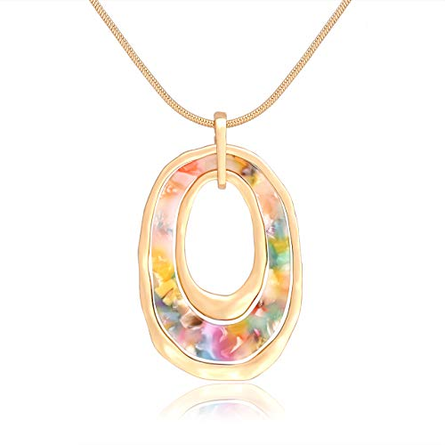 - MOLOCH Long Necklace for Women Girls Geometry Oval Acrylic Resin Circle Pendant Necklace Statement Boho Acetate Ring Hoop Necklace Minimalist Gift (Floral)