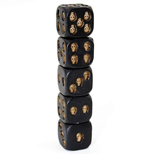 AAA&LIU New 5pcs/Set 18mm Resin Skull Dice Statue Halloween Board Game Dice Office Desk Decor Toy Halloween Party Decoration]()