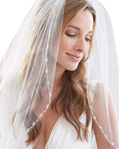 Passat Ivory 1T Fingertip Pearl Bridal Veil Beaded Celebrity Wedding Veils H77 ()