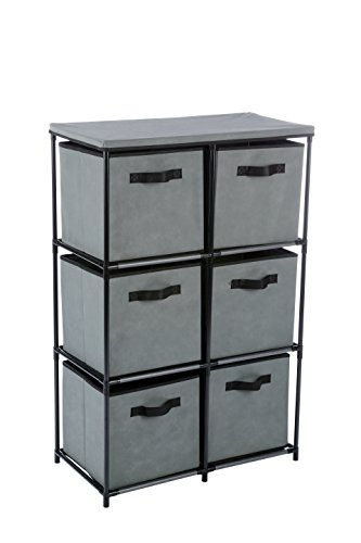 MULSH 6-Drawer Storage Chest Shelf Storage Cabinet Organizer Units with 6 Removable Non-Woven Fabric Bins in Grey