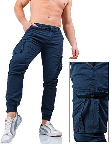 W7 Zip Laterali Slim Fit Tasche Pantaloni Uomo Cargo 3009 Tasconi Instinct Con Blu xaB4CF