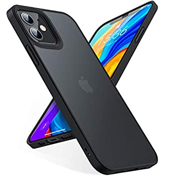 TORRAS Shockproof Appropriate for iPhone 12 Case/Appropriate for iPhone 12 Professional Case, [Military Grade Drop Tested] Translucent Matte Arduous PC Again with Comfortable Silicone Edge Slim Protecting Guardian, Black