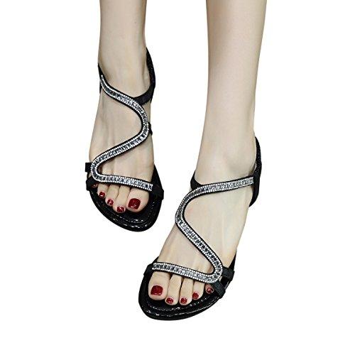KUONUO Doux Fashion Perlée Clip Toe Strass Décoré Flats Femmes Sandales Herringbone Bohême Noir NR5aCq0BG