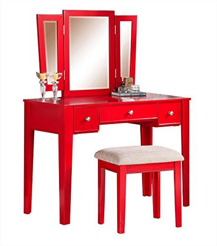 Poundex Bobkona Adar Vanity Set with Stool, Red