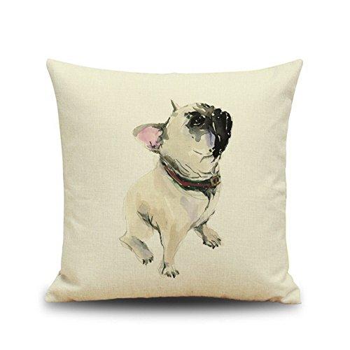"Crazy Cart Bulldog Pattern Cotton Linen 18 ""X18 "" Square Dec"