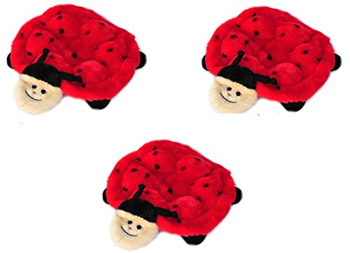 ZippyPaws Squeakie Crawler 6-Squeaker Plush Dog Toy, Betsey The Ladybug (3 Pack)