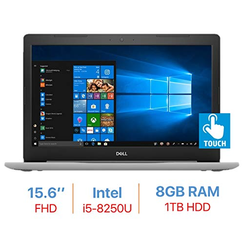 "Dell Inspiron 15.6"" FHD IPS Touch Laptop PC, Quad-Core 8th Gen Intel i5-8250U, 8GB DDR4 Memory, 1TB Hard Drive, Backlit Keyboard, HDMI, Bluetooth, Windows 10"