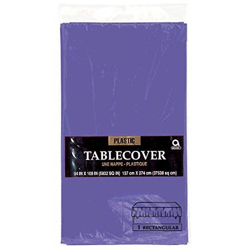 Amscan Rectangular Plastic Table Cover, Party Tableware, New Purple]()