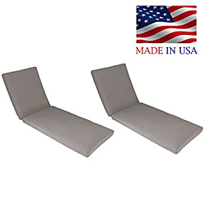 Made in USA Outdoor Patio Chaise Lounge Replacement Cushion Pad Choice of 12 Sunbrella Fabrics 2-PACK