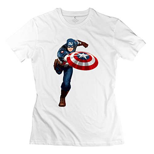 ZZY Particular Running Captain America T Shirt - Women's T-shirt White Size L