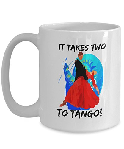 It Takes Two To Tango - Novelty 15oz White Ceramic Dance Cup - Perfect Anniversary, Birthday or Holiday Coffee Tea Mug Gift For Dancers