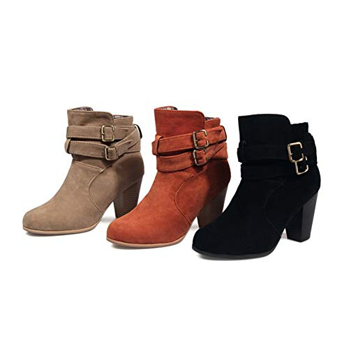 Heeled Chunky Buckle Casual Fashion Women's Block Pump Booties Ankle Strap Martin Ankle Boots Apricot Dress Ht1wgqnwc