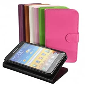 Flip Stand Wallet PU Leather Case For Samsung Galaxy Note II N7100 & Color = Purple
