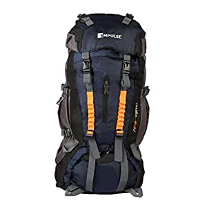 Impulse Climate Proof Mountain Rucksack/Hiking/Trekking/Camping Bag/Backpack 85 ltrs Rucksack with Rain Cover Thames (Navy Blue)