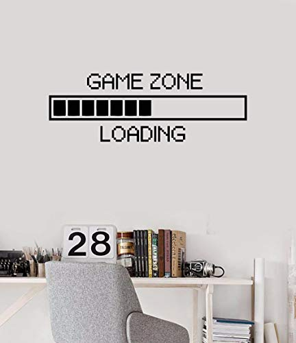 Vinyl Wall Decal Game Zone Loading Wall Sticker Home Decor Gamer Room Wall Mural Boys Bedroom Decoration Wall Stickers AY1010 (17x48, Black)