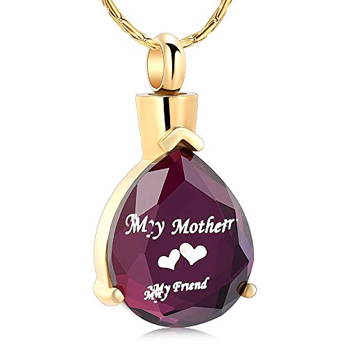 Cremation Urn Necklace for Ashes Carved Teardrop Keepsake Urn Jewelry Memorial Pendant with Fill Kit and Gift Box (My Mother My Friend)