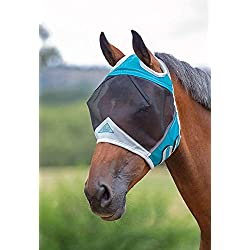 Shires Fine Mesh Fly Mask with Ear Holes, Teal, Cob