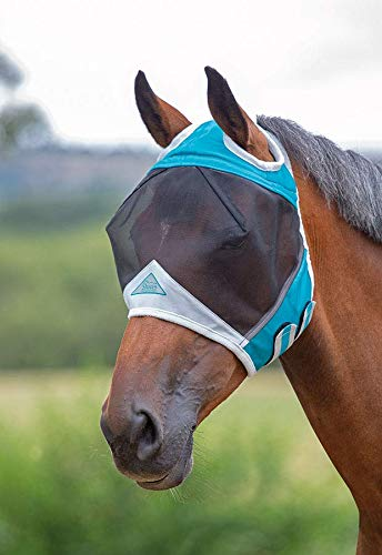 Shires Fine Mesh Fly Mask with Ear Holes, Teal, Pony by Shires (Image #2)