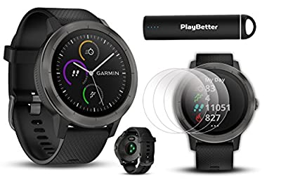 Garmin vivoactive 3 Fitness GPS Watch Power Bundle | Includes HD Screen Protector (x2) & PlayBetter USB Portable Charger (2200mAh) | Activity Tracking, Garmin Pay