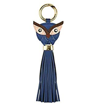 IO Stainless Steel Faux Leather Owl with Tassel Keychain - Blue
