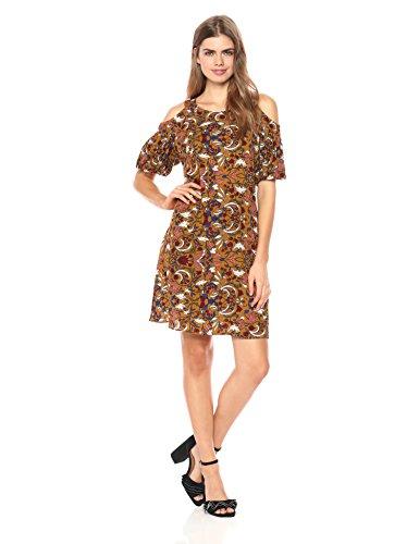 Printed Bubble Sleeve Dress - 3