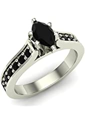 3/4 ct tw Black Marquise Diamond Engagement Ring 14K Gold on Sterling