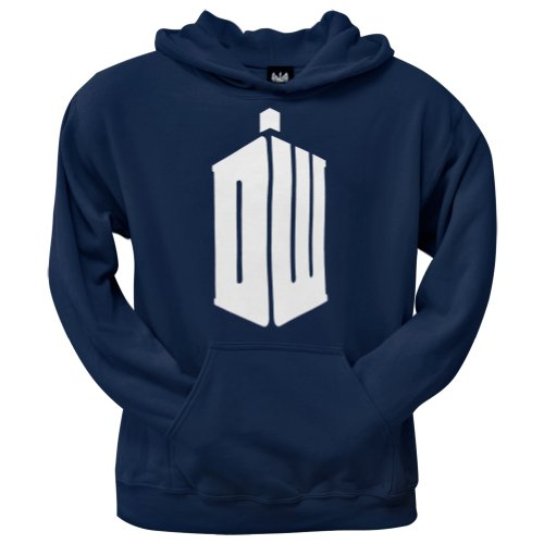 Doctor Who - Mens Dw Tardis Pullover Hoodie Medium Dark Blue