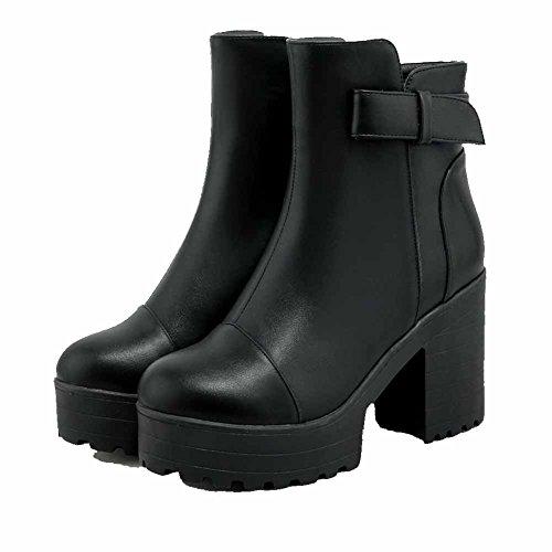 Allhqfashion Dames Ronde Dichte Neus Hoge Hakken Low-top Stevige Laarzen Zwart