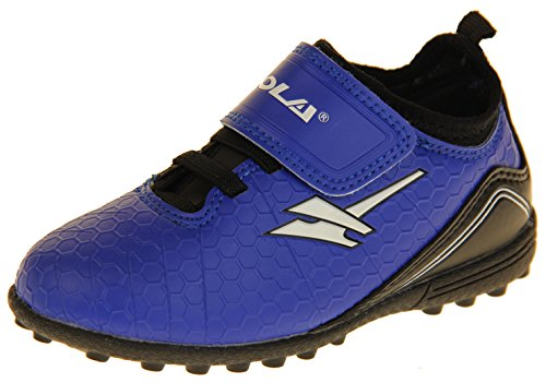Junior Trainers Football (Gola Boys Astro Turf Kids Sports Touch Fastening Lace Up Shoes Football Trainers Bright Blue, Black & White 9 US Toddler)