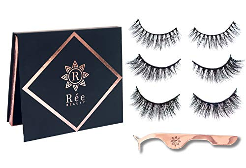 Rée Beauty False Eyelashes 3D 100% Siberian Mink Strip Lashes Handmade Cruelty-Free 3 Pair Package with Applicator (Mix Set- Audrey, Reilynn, Aria)