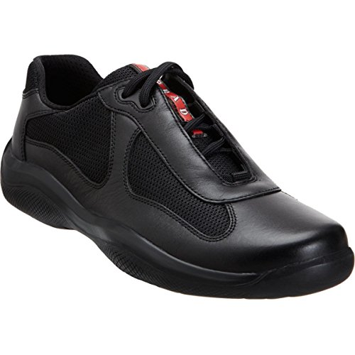 Prada Men's 'America's Cup' Leather With Mesh Sneaker, Black (11 US UK - Prada Cup America