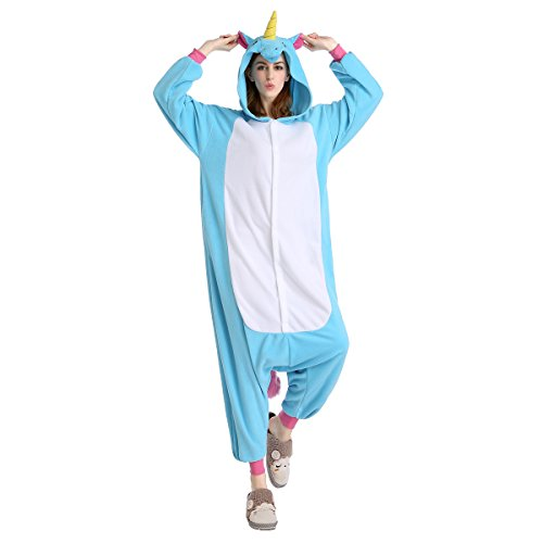 [Newcosplay Halloween Unicorn Pajamas Homewear OnePiece Cosplay Costume Lounge Wear (L-for Height 67