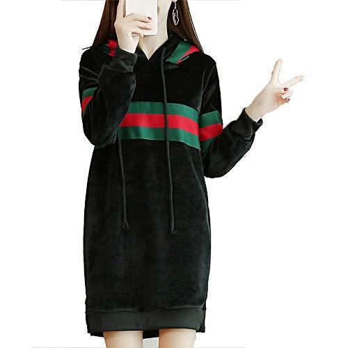 Capuche Chandail De Mode Vitila Peluche Avec Et Engrais Robe Manteau Noir Veste Femmes Pour Longue Plus 6Tf7xn