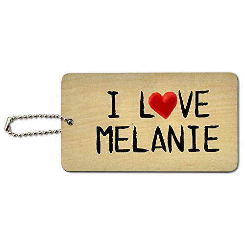 I Love Melanie Written on Paper Wood ID Tag Luggage Card Suitcase Carry-On