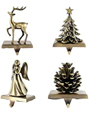 Hotoair Christmas Stocking Holder with Hook for Fireplace Mantle - Set of 4 Christmas Decor Gold Christmas Mantle Decoration Reindeer Christmas Tree Pine Cones Angel Stocking Hanger (Style3-Blessing)