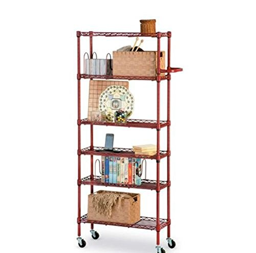 Rolling Kitchen 6 Shelf Pantry Rack- Red 56