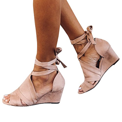Syktkmx Womens Strappy Lace up Mid Wedge Heel Open Toe Ankle Wrap Suede Dress Sandals ()