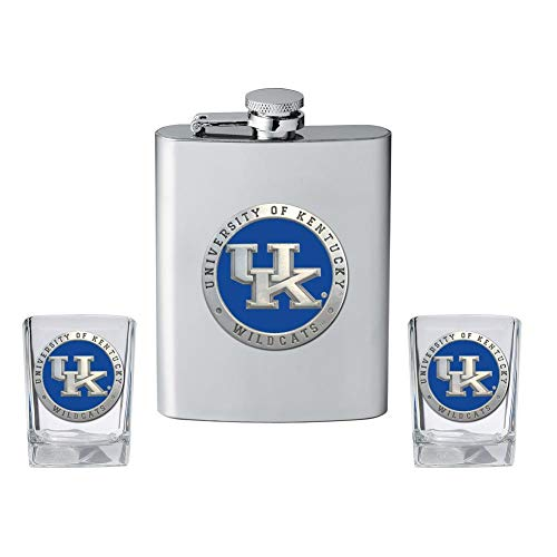 (Heritage Metalwork Kentucky Wildcats UK Flask and 2 Shot Glass Set Liquor Flask)