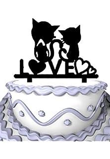 Meijiafei Script Love Heart With 2 Cut Cats Silhouette Wedding Cake Topper Gift