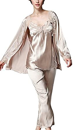 Image Unavailable. Image not available for. Colour  Foucome Women s Long  Sleeves Pajama Sets Satin Silk Lace Stitching Pyjamas with Belt Three Piece  Set 50d08dec3