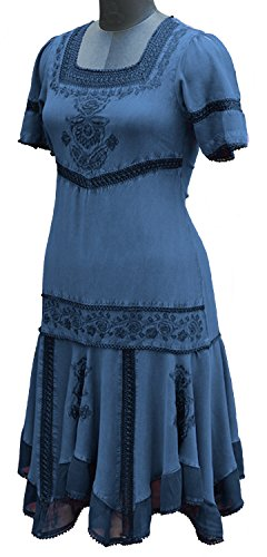 HolyClothing Callie Georgette & Lace Tiered Romance Dress - Large - Blue (Divine Lace Dress)