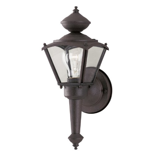Westinghouse 6468700 One-Light Exterior Wall Lantern, Rust Patina Finish on Steel with Clear Glass Panels