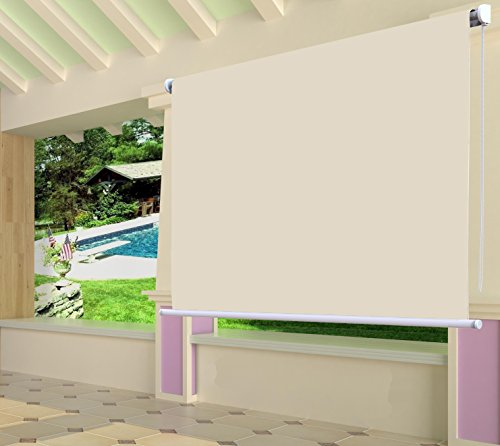 Shatex 6x6ft Wheat Waterproof Exterior Roller Shade Roll Up Shade (Roll Up Sun Shades For Patios)