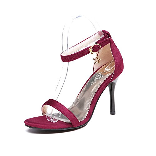 AgooLar Mujeres Hebilla Tacón de aguja Sintético Sólido Puntera Abierta Sandalia Rojo